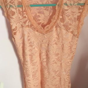 boutique Dresses - Boutique Pink Floral Lace Dress